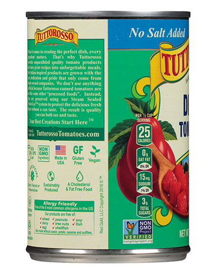 No Salt Added Diced Tomatoes 14.5 oz Tuttorosso Tomatoes