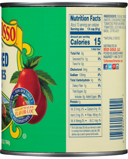 Tuttorosso Crushed Tomatoes Nutrition