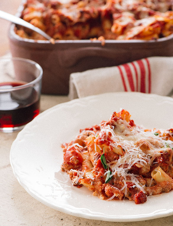 Tuttorosso Baked Ziti with Italian Sausage