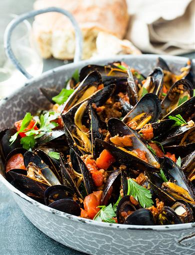 Mussles with Chorizo, Tomatoes, Browned Garlic and Basil