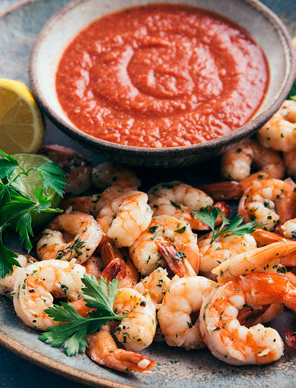 Roasted Shrimp with Zesty Cocktail Sauce